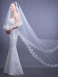 Wedding Veil One-tier Chapel Veils Lace Applique Edge Tulle White / Red