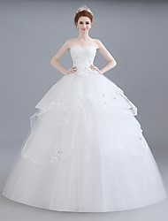 Ball Gown Wedding Dress Floor-length Sweetheart Lace / Satin / Tulle with Beading / Lace