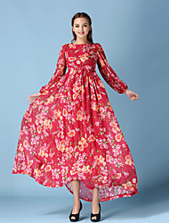Women's Party/Cocktail Sexy Chiffon / Swing Dress,Floral Boat Neck Above Knee Long Sleeve Red Cotton