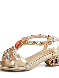 Women's Shoes Chunky Heel Open Toe Slingback Sandals with Rhinestones More Color Available