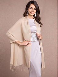 Women's Wrap Shawls Sleeveless Cotton Black / Almond Wedding / Party/Evening / Casual Tassels Open Front
