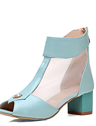Women's Shoes Tulle / Leatherette Chunky Heel Heels / Peep Toe / Fashion Boots Sandals Office & Career / Dress