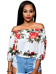 Women's Casual/Daily Vintage Sexy Backless Summer T-shirt,Floral Boat Neck ¾ Sleeve