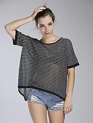 Damen Gestreift Street Schick Lässig/Alltäglich T-shirt,Rundhalsausschnitt Sommer Kurzarm Weiß / Schwarz Baumwolle Lichtdurchlässig