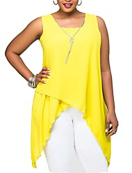 Women's Solid Red / Yellow T-shirt,Round Neck Sleeveless