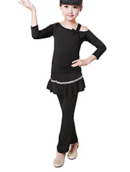 Children's Training Cotton Bow(s) 2 Pieces Long Sleeve Natural Top / Pants Children's Dance Clothes