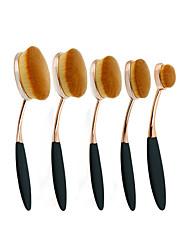 5Pc/Set Pro Fashion Gold Black Oval Toothbrush Shape Eyebrow Face Foundation Podwer Eyeliner Lip Makeup Brushes Tools