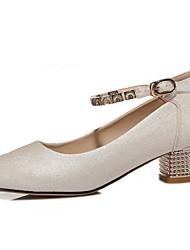 Бежевый-Женская обувь-Для офиса / На каждый день-Синтетика-На толстом каблуке-На каблуках-Обувь на каблуках