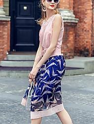 prase Frauendruck blauen Röcke, einfache Knielänge