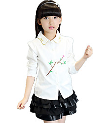 Girl's Wild Puff Sleeve Cotton Print Shirt Collar Bow Long Sleeve Shirt