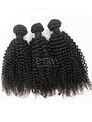 3pcs / lot vírgenes afro sexuales extensiones humanos rizado pelo peruano pelo negro 8 'natural' - 30 '' del pelo humano teje