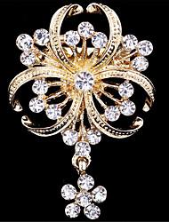 моды роскошь золота гальваническим цветок горный хрусталь броши для женщин свадьбы