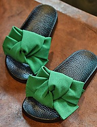 Girls' Shoes Casual Silk Summer Open Toe / Slippers Flat Heel Bowknot Black / Green / Pink