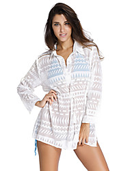 Women's White Geometry Print Shirt Cover Up