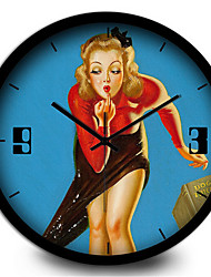 Retro Sexy Red Lips Woman Living Room Music Essential Metal Wall Clock