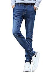 Masculino Chino Casual Cor Solida Algodão Azul