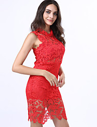 Women's Lace Red/White/Black Dress, Sexy Mini Stand Collar Sleeveless