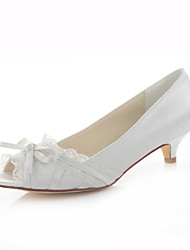 Women's Spring / Summer / Fall Heels / Peep Toe / Round Toe Silk Wedding / Dress / Party & Evening Low Heel Bowknot / Stitching Lace Ivory
