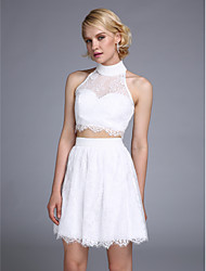 TS Couture® Dress A-line Halter Short / Mini Lace with Beading / Buttons