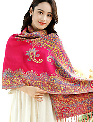 National Wind Jacquard Flower Gold Thread Embroidery Fringed Shawl Travel Cotton Long Warm Scarves