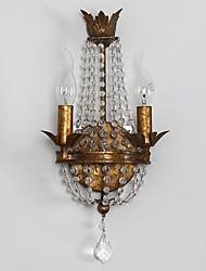 têtes doubles lampe de mur de cristal traditionnelle amercian personnalité industrielle pour décorer l'intérieur murale