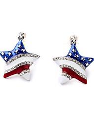 European Style Luxury Gem Geometric Earrrings American Star Stud Earrings for Women Fashion Jewelry Best Gift