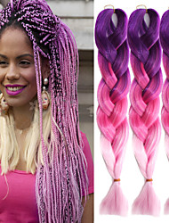 "Aubergine Rose Pink Ombre Crochet 24"" Yaki Kanekalon Fiber 3 Tone 100g Jumbo Braids Synthetic Hair with Free Hook"