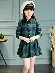 Camisa Chica de-Casual/Diario-Escocés-Piel Sintética / Algodón-Invierno / Primavera / Otoño-Azul / Verde
