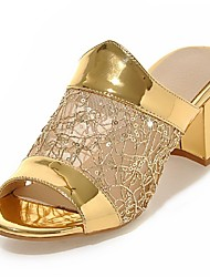 Women's Shoes Chunky Heel Peep Toe Sequin Slippers