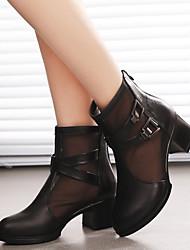 Damen-Stiefel-Lässig-Leder-Blockabsatz Block FerseSchwarz