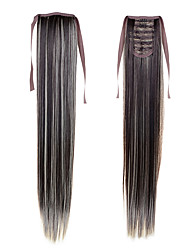 """22 """"(55cm) 100g longue queue droite synthétique ruban ponytails # 4/613 clip de couleur mixte dans les extensions de cheveux queue de"""