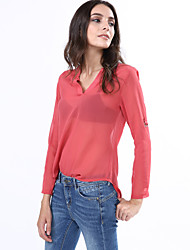 Women's Casual/Daily Simple Fall Blouse,Solid V Neck Long Sleeve Red / Gray Polyester Thin