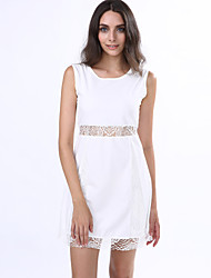 Women's Beach / Going out Cute / Street chic A Line Dress,Patchwork Round Neck Mini Sleeveless White Polyester / Others Summer High Rise