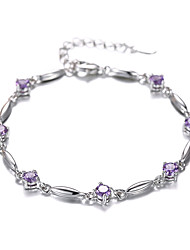 Women's Bracelet Sterling Silver Plated Purple CZ AAA Zircon Chain Bracelet Wedding for BrideImitation Diamond Birthstone Christmas Gifts