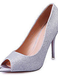 Feminino-Sandálias-Saltos / Peep Toe-Salto Agulha-Prateado / Dourado-Courino-Escritório & Trabalho / Casual / Festas & Noite