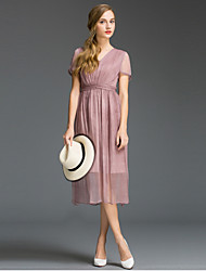 Damen Hülle Kleid-Ausgehen Einfach Solide V-Ausschnitt Midi Kurzarm Blau / Rosa / Lila Seide / Baumwolle Sommer Hohe Hüfthöhe