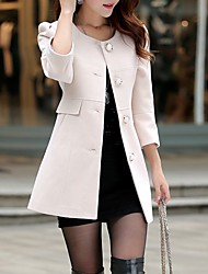 Women's Casual/Daily Simple Coat,Solid Notch Lapel Long Sleeve Fall Pink / White / Yellow Wool Medium