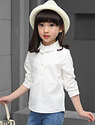 Girl's Casual/Daily Solid Blouse,Cotton Spring / Fall White
