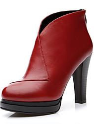 Черный / Красный-Женская обувь-Для праздника / Для вечеринки / ужина-Дерматин-На конусовидном каблуке-На каблуках-Обувь на каблуках