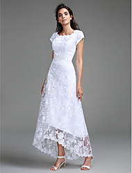 2017 Lanting Bride® Sheath / Column Wedding Dress Asymmetrical Scoop Lace with Lace