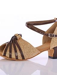 Customizable Women's Dance Shoes Satin / Sparkling Glitter  Latin Ballroom Heels Chunky Heel Indoor Black / Gold