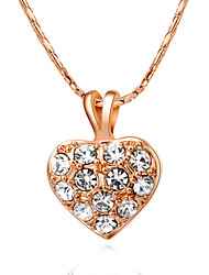 HKTC Women's Lovely Gift Jewelry Concise 18k Rose Gold Plated Crystal Heart Shape Pendant Necklace