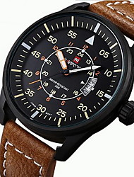 Men's Military Watch Quartz Japanese Quartz Calendar Noctilucent Leather Band Casual Black Brown Brand NAVIFORCE