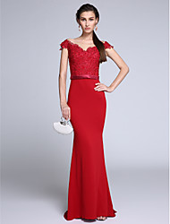 TS Couture Formal Evening Dress - Elegant Trumpet / Mermaid Off-the-shoulder Floor-length Chiffon with Appliques