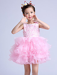 A-line Short / Mini Flower Girl Dress - Cotton / Lace / Organza Sleeveless Jewel with