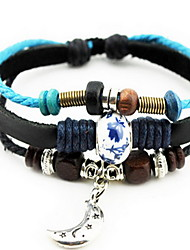 Leather Wrap Bracelet with Leaf Moon Butterfly Pendant