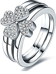 Genuine Silver 925 Clover Rings Set for Women 3 Rings Combined Mounting SONA Diamond Platinum Plated Four Love