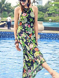 PRASE Women's Sexy Print Sheath Dress,Halter Midi Polyester