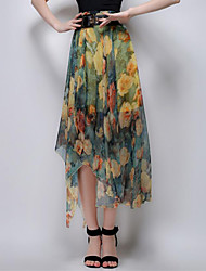 Women's Floral Red / Yellow Skirts,Sophisticated Asymmetrical