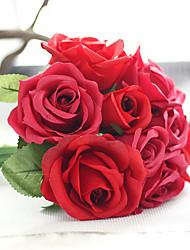 1 Ramo Poliéster Plástico Rosas Flor de Mesa Flores artificiais 7*4